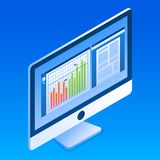 Icono del monitor de la oficina, estilo isométrico ilustración del vector