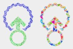 Icono del mosaico de la inseminación del vector de los elementos del triángulo libre illustration