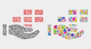 Icono del mosaico de los ladrillos de la oferta de la mano del vector de los artículos del triángulo libre illustration
