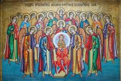 Icono del mosaico en el monasterio de Odessa Orthodox Christian Imagen de archivo libre de regalías