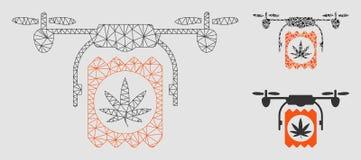 Icono del mosaico del modelo y del triángulo de la malla del vector de la entrega del abejón de las drogas 2.o stock de ilustración