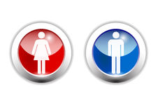Icono del muchacho y de la muchacha hecho en el ilustrador cs4 Foto de archivo libre de regalías