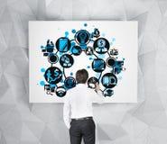 Icono del negocio del dibujo del hombre de negocios Fotos de archivo libres de regalías