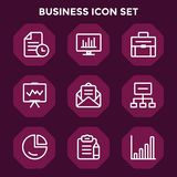 Icono del negocio fijado en el fondo marrón rojo para el diseño web ilustración del vector