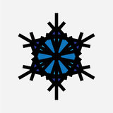 Icono del negro del copo de nieve del vintage Imágenes de archivo libres de regalías
