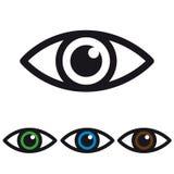 Icono del ojo - vector colorido fijado - blanco, verde, azul y Brown Foto de archivo
