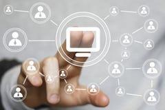 Icono del ordenador de la conexión del web de la muestra del botón del negocio medios Foto de archivo