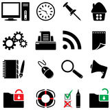 Icono del ordenador fijado (colores blancos y negros) Imagen de archivo libre de regalías
