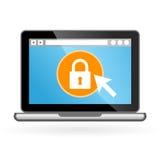 Icono del ordenador portátil con el candado en la pantalla imágenes de archivo libres de regalías