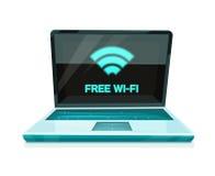 Icono del ordenador portátil con el símbolo libre de Wi-Fi stock de ilustración