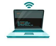 Icono del ordenador portátil con el símbolo libre de Wi-Fi ilustración del vector