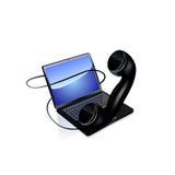 Icono del ordenador portátil y del teléfono Vector Imágenes de archivo libres de regalías