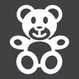 Icono del oso de peluche, juguete de la felpa y bebé sólidos stock de ilustración