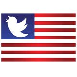 Icono del pájaro del triunfo en fondo azul y rojo de la bandera de las rayas Ilustración de la historieta del vector 11 de junio  libre illustration