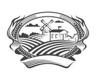 Icono del paisaje de la agricultura Imágenes de archivo libres de regalías