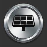 Icono del panel solar en la colección metálica del botón Foto de archivo libre de regalías