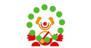 Icono del payaso que hace juegos malabares sonriente lindo divertido