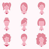 Icono del pelo y de la joyería de señora Fashion Style With fijado - vector Fotografía de archivo