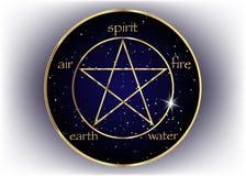 Icono del Pentagram del oro con cinco elementos: Alcohol, aire, tierra, fuego y agua Símbolo de oro de la alquimia y de la geomet libre illustration