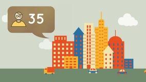 Icono del perfil y una ciudad stock de ilustración
