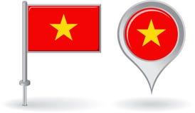 Icono del perno y bandera vietnamitas del indicador del mapa Vector Foto de archivo libre de regalías