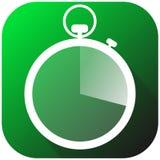Icono del perseguidor de la aptitud con el contador de tiempo en el fondo verde cardiio, entrenamiento del corazón, aptitud, ejem Imagen de archivo