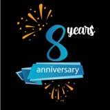 icono del pictograma de 8 aniversarios, años del cumpleaños de etiqueta del logotipo Ilustraci?n del vector o ilustración del vector