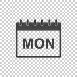 Icono del pictograma de la página del calendario de lunes Pictograma plano simple para b Foto de archivo