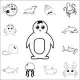 Icono del pingüino Sistema detallado de iconos del esquema del animal de mar Icono superior del diseño gráfico de la calidad Uno  stock de ilustración