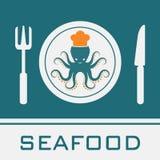 Icono del plato del cuchillo de la bifurcación del calamar Foto de archivo libre de regalías