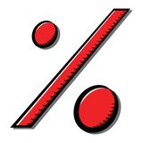 Icono del porcentaje con la sombra Icono rojo, símbolo Ejemplo común del vector transparente Blanco aislado libre illustration