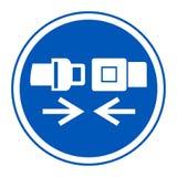 Icono del PPE Aislante de la muestra del símbolo del cinturón de seguridad del desgaste en el fondo blanco, ejemplo EPS del vecto stock de ilustración