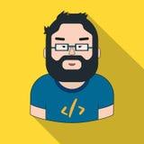 Icono del programador en estilo plano aislado en el fondo blanco Gente de diverso vector de la acción del símbolo de la profesión libre illustration