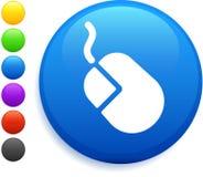 Icono del ratón del ordenador en el botón redondo del Internet Foto de archivo