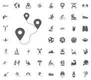 Icono del recorrido Iconos determinados del vector del ejemplo del deporte Sistema de 48 iconos del deporte Fotos de archivo