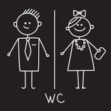 Icono del retrete Muestra simple del WC Muestra del WC de los hombres y de las mujeres para el lavabo Símbolo del vector Bosquejo ilustración del vector
