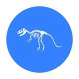 Icono del rex del tiranosaurio en estilo negro aislado en el fondo blanco Ejemplo del vector de la acción del símbolo del museo Imágenes de archivo libres de regalías