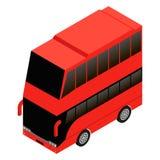Icono del rojo del autobús de dos pisos de Londres Ilustración del Vector