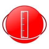 Icono del rojo del ejemplo del vector de la regla Fotografía de archivo libre de regalías