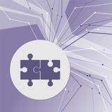 Icono del rompecabezas en fondo moderno abstracto púrpura Las líneas en todas las direcciones Con el sitio para su publicidad ilustración del vector