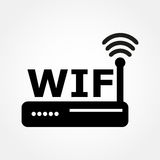 Icono del router y de los Wi fi Foto de archivo libre de regalías
