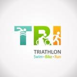 Icono del símbolo de la aptitud del Triathlon ilustración del vector