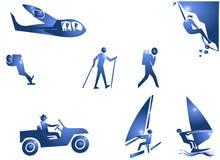 Icono del símbolo de la aventura del deporte Imágenes de archivo libres de regalías