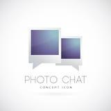 Icono del símbolo del concepto del vector de la charla de la foto Imagenes de archivo