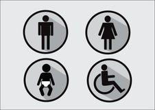 Icono del símbolo del lavabo de la incapacidad y del niño de la mujer del hombre Foto de archivo libre de regalías