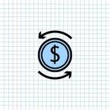 Icono del s?mbolo del intercambio de dinero en el fondo de papel de la nota, medios icono para la comunicaci?n de la tecnolog?a y libre illustration
