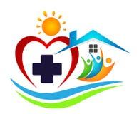 Icono del símbolo del verano de la salud del éxito del trabajo del equipo de la unión de la gente del icono médico del logotipo d stock de ilustración