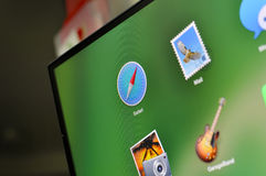 Icono del safari en la pantalla de ordenador Imagen de archivo