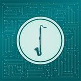 Icono del saxofón en un fondo verde, con las flechas en diversas direcciones Aparece el tablero electrónico stock de ilustración