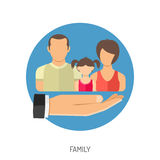 Icono del seguro de la familia Imagenes de archivo
